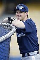 Mark Loretta of the Milwaukee Brewers before a 2002 MLB season game against the Los Angeles Dodgers at Dodger Stadium, in Los Angeles, California. (Larry Goren/Four Seam Images)
