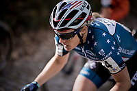 Katie Compton (USA/KFC Racing p/b Trek/Panache) during the women's race start up the infamous (and steep) Koppenberg cobbles<br /> <br /> Koppenbergcross / Belgium 2017