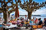 Germany, Bavaria, Chiemgau, Prien: Restaurant and Café Westernacher  at Lake Chiemsee   Deutschland, Bayern, Chiemgau, Prien: Restaurant und Café Westernacher am Chiemsee