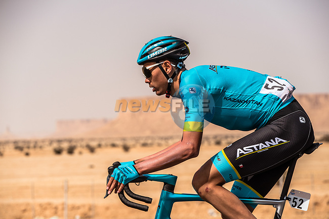 Zhandos Bizhigitov (KAZ) Astana Pro Team in action during Stage 1 of the Saudi Tour 2020 running 173km from Saudi Arabian Olympic Committee to Jaww, Saudi Arabia. 4th February 2020. <br /> Picture: ASO/Kåre Dehlie Thorstad   Cyclefile<br /> All photos usage must carry mandatory copyright credit (© Cyclefile   ASO/Kåre Dehlie Thorstad)