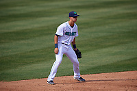 Lynchburg Hillcats shortstop Luke Wakamatsu (12) during the first game of a doubleheader against the Potomac Nationals on June 9, 2018 at Calvin Falwell Field in Lynchburg, Virginia.  Lynchburg defeated Potomac 5-3.  (Mike Janes/Four Seam Images)