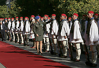 Pictured: Presidential Guards known as Tsoliades are inspected prior to the visit<br /> Re: Turkey's president Recep Tayyip Erdogan has begun a landmark visit to Greece. Thursday 07 December 2017