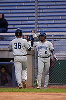 Lake County Captains left fielder Hosea Nelson (6) congratulates Miguel Jerez (36) during a Midwest League game against the Beloit Snappers at Pohlman Field on May 6, 2019 in Beloit, Wisconsin. Lake County defeated Beloit 9-1. (Zachary Lucy/Four Seam Images)