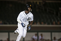 Mesa Solar Sox center fielder Daz Cameron (13), of the Detroit Tigers organization, runs to first base during an Arizona Fall League game against the Scottsdale Scorpions at Sloan Park on October 10, 2018 in Mesa, Arizona. Scottsdale defeated Mesa 10-3. (Zachary Lucy/Four Seam Images)
