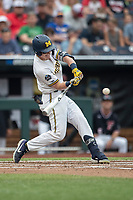 Michigan Wolverines shortstop Jack Blomgren (2) swings the bat during Game 1 of the NCAA College World Series against the Texas Tech Red Raiders on June 15, 2019 at TD Ameritrade Park in Omaha, Nebraska. Michigan defeated Texas Tech 5-3. (Andrew Woolley/Four Seam Images)