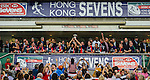 Scotland players celebrate with the trophy after winning the on Bowl Final during the Cathay Pacific / HSBC Hong Kong Sevens at the Hong Kong Stadium on 30 March 2014 in Hong Kong, China. Photo by Xaume Olleros / Power Sport Images