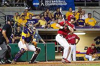 Stony Brook Seawolves outfielder Travis Jankowski #6 singles during the NCAA Super Regional baseball game against LSU on June 10, 2012 at Alex Box Stadium in Baton Rouge, Louisiana. Stony Brook defeated LSU 7-2 to advance to the College World Series. (Andrew Woolley/Four Seam Images)