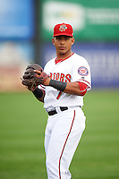 Harrisburg Senators third baseman Adrian Sanchez (7) during warmups before a game against the New Hampshire Fisher Cats on June 2, 2016 at FNB Field in Harrisburg, Pennsylvania.  New Hampshire defeated Harrisburg 2-1.  (Mike Janes/Four Seam Images)