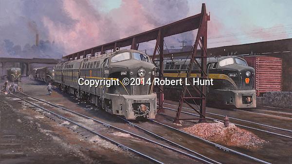 Baldwin Shark locomotives on the service track in the East Altoona complex circa 1950's. Oil on canvas, 17x30.