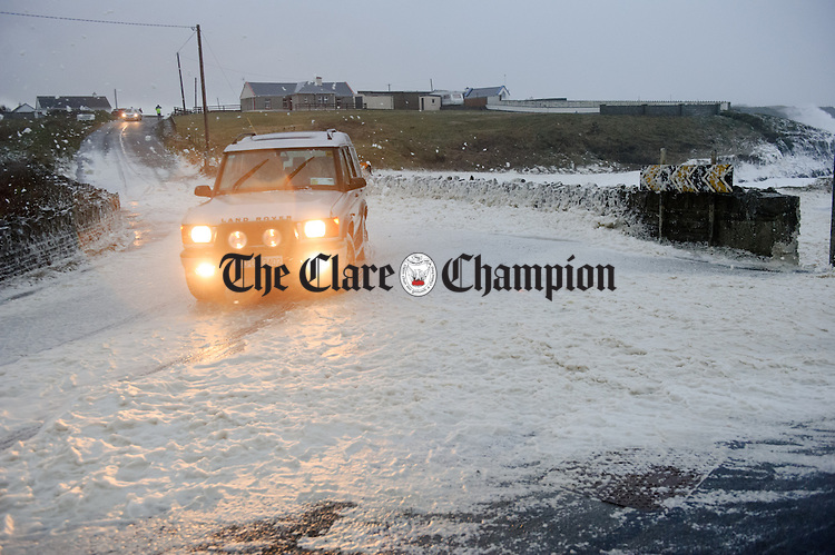Difficult driving conditions at Cladagh bridge outside Miltown Malbay during Storm Imogen. Photograph by John Kelly.