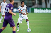 LAKE BUENA VISTA, FL - JULY 31: Mark-Anthony Kaye #14 of LAFC dribbles the ball during a game between Orlando City SC and Los Angeles FC at ESPN Wide World of Sports on July 31, 2020 in Lake Buena Vista, Florida.