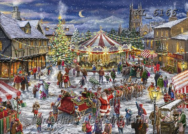 Interlitho-Marcello, CHRISTMAS SANTA, SNOWMAN, WEIHNACHTSMÄNNER, SCHNEEMÄNNER, PAPÁ NOEL, MUÑECOS DE NIEVE, paintings+++++,carousel,marketplace,old town,KL6166,#x#