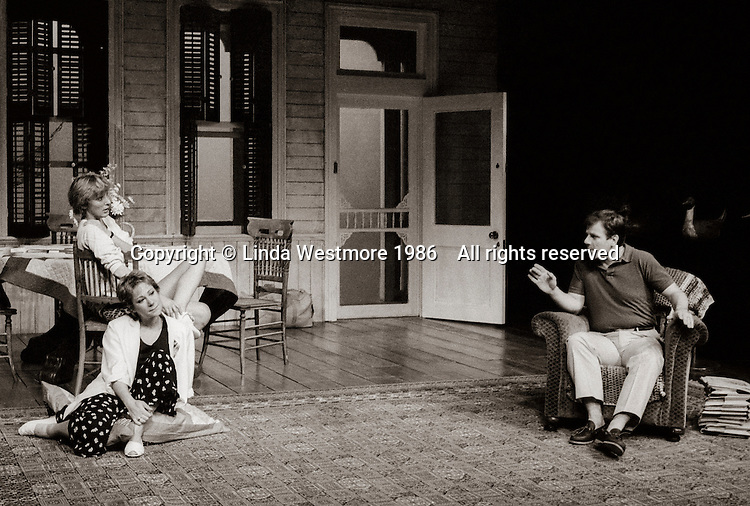 """Loelia (Kate Buffery), Grace (Zoe Wanamaker) and Robbie (Colin Stinton) in  """"Wrecked Eggs"""" written and directed by David Hare, designed by John Gunter, National Theatre, London, 1986."""