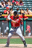 Tim Federowicz (5) of the El Paso Chihuahuas at bat against the Salt Lake Bees in Pacific Coast League action at Smith's Ballpark on July 26, 2015 in Salt Lake City, Utah. El Paso defeated Salt Lake 6-3 in 10 innings. (Stephen Smith/Four Seam Images)