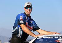 Nov 10, 2013; Pomona, CA, USA; NHRA pro stock driver Jason Line during the Auto Club Finals at Auto Club Raceway at Pomona. Mandatory Credit: Mark J. Rebilas-