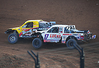 Dec. 11, 2011; Chandler, AZ, USA;  LOORRS pro 2 driver Rob Naughton (54) and Carl Renezeder (17) during the Lucas Oil Challenge Cup at Firebird International Raceway. Mandatory Credit: Mark J. Rebilas-