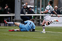TRY - Tom Griffiths of London Scottish grounds the ball during the Greene King IPA Championship match between Ealing Trailfinders and London Scottish Football Club at Castle Bar , West Ealing , England  on 19 January 2019. Photo by Carlton Myrie/PRiME Media Images