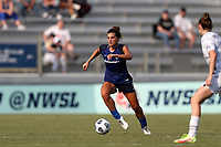 CARY, NC - SEPTEMBER 12: Cari Roccaro #21 of the North Carolina Courage plays the ball during a game between Portland Thorns FC and North Carolina Courage at Sahlen's Stadium at WakeMed Soccer Park on September 12, 2021 in Cary, North Carolina.