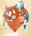 Illustrative image of doctors doing heart surgery