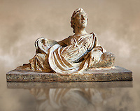 Etruscan Hellenistic style cinerary, funreary, urn  cover with a depiction of a women,  National Archaeological Museum Florence, Italy