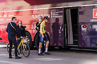 Mathieu van der Poel (NED/Alpecin Fenix) getting on the teambus post stage <br /> <br /> Stage 3 from Lorient to Pontivy (183km)<br /> 108th Tour de France 2021 (2.UWT)<br /> <br /> ©kramon
