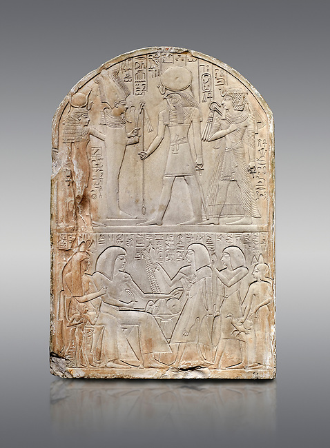 Ancient Egyptian stele dedicated to the god Re-Harakhty by sculptor Ipy, limestone, New Kingdom, 19th Dynasty, (1279-1213 BC), Deir el-Medina, Drovetti cat 7357. Egyptian Museum, Turin. Grey background