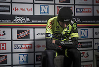 an emotional & exhausted close 2nd place finisher Alex Kirsch (LUX/WB Veranclassic - Aqua Protect) is ready for the post-race podium ceremony<br /> <br /> GP Le Samyn 2017 (1.1)