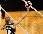 Smithsburg's Haley Caudell hits the ball during the Sparrows Point High School versus Smithsburg High School match in the Semifinals of the Maryland State Volleyball 1A Championship at Ritchie Coliseum in College Park, Maryland on November 12, 2012. Smithsburg defeated Sparrows Point in straight sets 25-10, 25-12, 25-10 to advance to the State Finals.