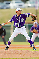 Starting pitcher Zach Haile (17) of the High Point Panthers in action against the Charlotte 49ers at Willard Stadium on February 20, 2013 in High Point, North Carolina.  The 49ers defeated the Panthers 12-3.  (Brian Westerholt/Four Seam Images)