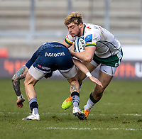 21st March 2021; AJ Bell Stadium, Salford, Lancashire, England; English Premiership Rugby, Sale Sharks versus London Irish; Ollie Hassell-Collins of London Irish is tackled by Byron McGuigan of Sale Sharks