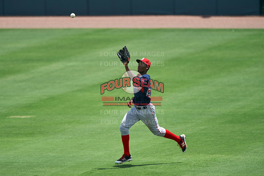 GCL Red Sox right fielder Chad Hardy (63) catches a fly ball during a game against the GCL Orioles on August 16, 2016 at the Ed Smith Stadium in Sarasota, Florida.  GCL Red Sox defeated GCL Orioles 2-0.  (Mike Janes/Four Seam Images)