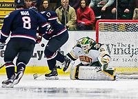 21 November 2017: University of Vermont Catamount goaltender Stefanos Lekkas makes a second period save against the University of Connecticut Huskies at Gutterson Fieldhouse in Burlington, Vermont. The Huskies defeated the Catamounts 4-1 in Hockey East play. Mandatory Credit: Ed Wolfstein Photo *** RAW (NEF) Image File Available ***