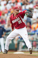 Arkansas Razorbacks pitcher Trey Killian (21) delivers a pitch to the plate against the Virginia Cavaliers in Game 1 of the NCAA College World Series on June 13, 2015 at TD Ameritrade Park in Omaha, Nebraska. Virginia defeated Arkansas 5-3. (Andrew Woolley/Four Seam Images)