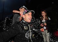 Jun. 19, 2011; Bristol, TN, USA: NHRA top fuel dragster driver Larry Dixon celebrates after the Thunder Valley Nationals at Bristol Dragway. Mandatory Credit: Mark J. Rebilas-