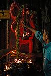 India, Tamil Nadu, Madurai 2005. Honouring Hannumak inside Sri Minakshi Temple in Madurai.