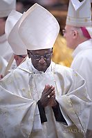 Cardinal Robert Sarah .Pope Francis during Episcopal Ordinations  the new Bishops Waldemar Stanislaw Sommertag, Alfred Xuareb, Jose' Avelino Bettencourt  ceremony in St. Peter's Basilica at the Vatican,  on March 19, 2018
