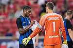 FC Internazionale Midfielder Geoffrey Kondogbia (L) and FC Internazionale Goalkeeper Samir Handanovic (R) during the International Champions Cup match between FC Bayern and FC Internazionale at National Stadium on July 27, 2017 in Singapore. Photo by Marcio Rodrigo Machado / Power Sport Images