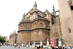 Cathedral of Saint Mary of the See in Seville. It is the largest gothic cathedral in the world. It occupies the site of Hagia Sophia, a mosque built by the Almohads in the late 12th century. La Giralda, its bell tower, is a legacy from the Moorish structure.