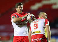 20th November 2020; Totally Wicked Stadium, Saint Helens, Merseyside, England; BetFred Super League Playoff Rugby, Saint Helens Saints v Catalan Dragons; Louie McCarthy-Scarsbrook of St Helens holds the ball