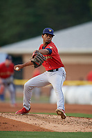 State College Spikes pitcher Enmanuel Solano (25) during a NY-Penn League game against the Batavia Muckdogs on July 2, 2019 at Dwyer Stadium in Batavia, New York.  Batavia defeated State College 1-0.  (Mike Janes/Four Seam Images)