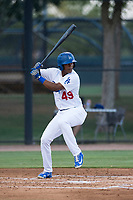 AZL Dodgers left fielder Kevin Aponte (49) at bat during an Arizona League game against the AZL White Sox at Camelback Ranch on July 3, 2018 in Glendale, Arizona. The AZL Dodgers defeated the AZL White Sox by a score of 10-5. (Zachary Lucy/Four Seam Images)