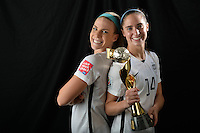 Vancouver - Canada, Sunday, July 5, 2015: The USWNT over Japan 5-2 in the finals of the 2015 Women's World Cup at BC Place.  USA players with the World Cup Trophy.