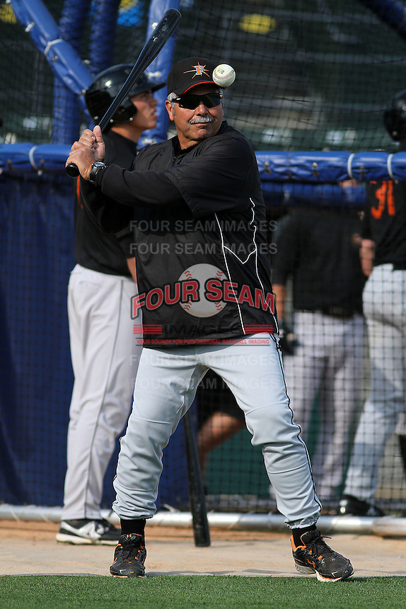 Frederick Keys manager Orlando Gomez #23 hitting grounders during practice before a game against the Myrtle Beach Pelicans at Tickerreturn.com Field at Pelicans Ballpark on April 24, 2012 in Myrtle Beach, South Carolina. Frederick defeated Myrtle Beach by the score of 8-3. (Robert Gurganus/Four Seam Images)