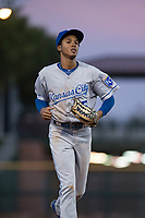 AZL Royals center fielder Raymond Lopez (15) jogs off the field between innings of an Arizona League game against the AZL Giants Black at Scottsdale Stadium on August 7, 2018 in Scottsdale, Arizona. The AZL Giants Black defeated the AZL Royals by a score of 2-1. (Zachary Lucy/Four Seam Images)