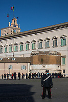 Rome, 26/01/2021. Today, the Italian Prime Minister, Giuseppe Conte, visits the Palazzo del Quirinale to hand his resignation to the President of the Republic, Sergio Mattarella. The Italian Government crisis has begun last week (1. & 2.) after the defection of the two Cabinet ministers belonging to the tiny party, Italia Viva (Italy Alive), led by former Italian Prime Minister Matteo Renzi.<br /> <br /> Footnotes & Links:<br /> 1. 18.01.2021 - Italian Government Crisis - Vote Of Confidence At The Chamber Of Deputies https://lucaneve.photoshelter.com/gallery/18-01-2021-Italian-Government-Crisis-Vote-Of-Confidence-At-The-Chamber-Of-Deputies/G0000.TN.AdgsXkU/C0000GPpTqAGd2Gg<br /> 2. 19.01.2021 - Italian Government Crisis - Vote Of Confidence At The Senate.. & San Luigi Dei Francesi https://lucaneve.photoshelter.com/gallery/19-01-2021-Italian-Government-Crisis-Vote-Of-Confidence-At-The-Senate-San-Luigi-Dei-Francesi/G0000N_JzGyjqXGs/C0000GPpTqAGd2Gg