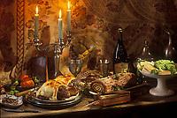 Gastronomie générale/Repas de Réveillon/Noêl en Val de Loire: Terrine de poissons de la loire, Faisan en croute et sauce au foie gras, buche au chocolat