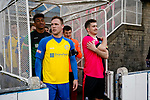 Liam McFadyen of Stocksbridge and Nick Thompson of Pickering wait to lead their teams out. Stocksbridge Park Steels v Pickering Town, Evo-Stik East Division, 17th November 2018. Stocksbridge Park Steels were born from the works team of the local British Steel plant that dominates the town north of Sheffield.<br />