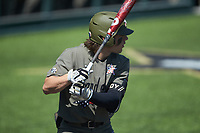 Carter Young (9) of the Vanderbilt Commodores at bat against the South Carolina Gamecocks at Hawkins Field on March 21, 2021 in Nashville, Tennessee. (Brian Westerholt/Four Seam Images)