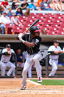 Lansing Lugnuts outfielder Reggie Pruitt (5) at bat during a Midwest League game against the Wisconsin Timber Rattlers on May 8, 2018 at Fox Cities Stadium in Appleton, Wisconsin. Lansing defeated Wisconsin 11-4. (Brad Krause/Four Seam Images)