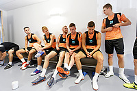 (L-R) Matt Grimes, Jay Fulton, Oliver McBurnie, Ryan Blair, Adnan Maric and George Byers prepare for the pitch during the Swansea City Training Session at The Fairwood Training Ground, Wales, UK. Tuesday 03 July 2018